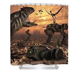 Dinosaurs And Robots Fight A War Shower Curtain by Mark Stevenson