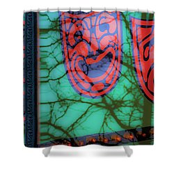 Dionysus Comedy And Tragedy V3 Shower Curtain by Raymond Kunst