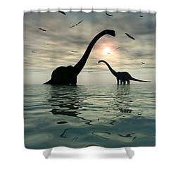 Diplodocus Dinosaurs Bathe In A Large Shower Curtain by Mark Stevenson