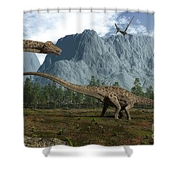Diplodocus Dinosaurs Graze While Shower Curtain by Walter Myers