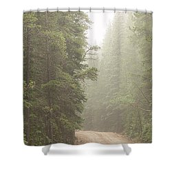 Shower Curtain featuring the photograph Dirt Road Challenge Into The Mist by James BO Insogna