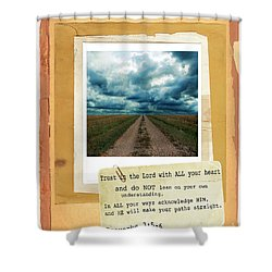 Dirt Road With Scripture Verse Shower Curtain by Jill Battaglia