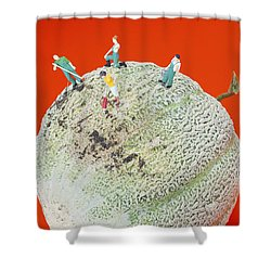 Shower Curtain featuring the painting Dirty Cleaning On Sweet Melon Little People On Food by Paul Ge