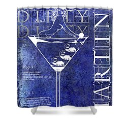 Dirty Dirty Martini Patent Blue Shower Curtain by Jon Neidert