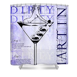 Dirty Dirty Martini Patent Blueprint Shower Curtain by Jon Neidert