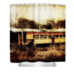 Discarded Train Shower Curtain