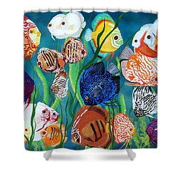 Discus Fantasy Shower Curtain by Debbie LaFrance