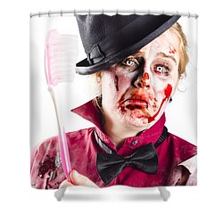 Shower Curtain featuring the photograph Diseased Woman With Big Toothbrush by Jorgo Photography - Wall Art Gallery