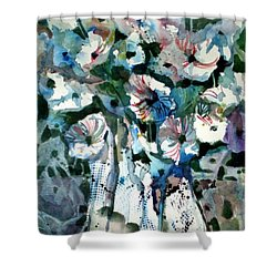 Shower Curtain featuring the painting Disney Petunias by Mindy Newman