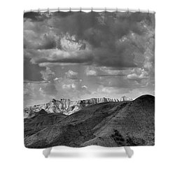 Distant Mountains The Badlands Shower Curtain