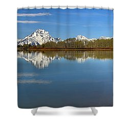 Distant Mt. Moran Reflections Shower Curtain by Adam Jewell