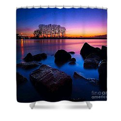 Distant Shores At Night Shower Curtain by Rod Jellison