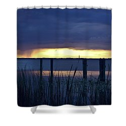 Distant Storms At Sunset Shower Curtain by DigiArt Diaries by Vicky B Fuller
