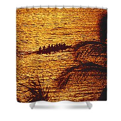 Distant View Of Outrigger Shower Curtain by Ron Dahlquist - Printscapes