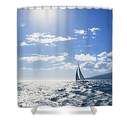 Distant View Of Sailboat Shower Curtain by Ron Dahlquist - Printscapes