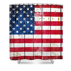 Distressed American Flag On Wood Planks - Horizontal Shower Curtain