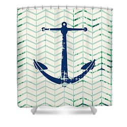 Distressed Navy Anchor V2 Shower Curtain by Brandi Fitzgerald