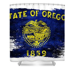 Distressed Oregon Flag Shower Curtain
