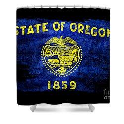 Distressed Oregon Flag On Black Shower Curtain by Jon Neidert