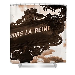 Distressed Parisian Street Sign Shower Curtain