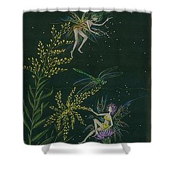 Ditchweed Fairies Goldenrod And Thistle Shower Curtain by Dawn Fairies
