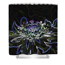Ditigal Abstract Art Glowing Flower Shower Curtain