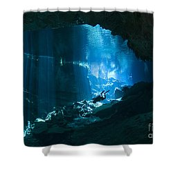 Diver Enters The Cavern System N Shower Curtain by Karen Doody