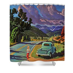 Shower Curtain featuring the painting Divergent Paths by Art West
