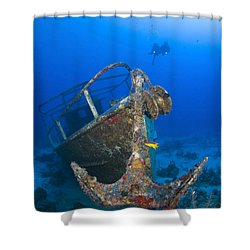 Divers Visit The Pelicano Shipwreck Shower Curtain by Karen Doody
