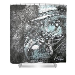 Divine Blues Shower Curtain by Anne-D Mejaki - Art About You productions