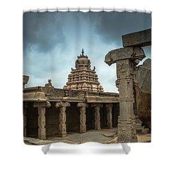 Shower Curtain featuring the photograph Divine Lepakshi - Temple Architecture by Ramabhadran Thirupattur