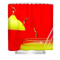 Diving Into Orange Juice Shower Curtain by Paul Ge
