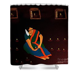 Diwali-the Night Of Diyas Shower Curtain by Latha Gokuldas Panicker