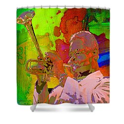 Shower Curtain featuring the painting Dizzy by Mojo Mendiola