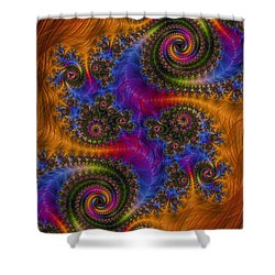 Dizzy Spirals Shower Curtain