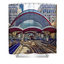 Dlr Canary Wharf And Approaching Train Shower Curtain by Venetia Featherstone-Witty