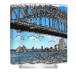Shower Curtain featuring the photograph Do-00058 Sydney Harbour Bridge And Opera House by Digital Oil