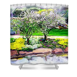 Shower Curtain featuring the photograph Do-00066 Lake Walk by Digital Oil