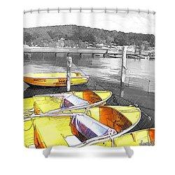 Do-00279 Yellow Boats Shower Curtain
