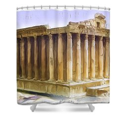 Do-00312 Temple Of Bacchus In Baalbeck Shower Curtain