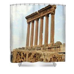 Do-00314 The 6 Corinthian Columns In Baalbeck Shower Curtain