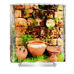 Shower Curtain featuring the photograph Do-00348 Jars In Byblos by Digital Oil
