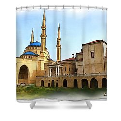 Shower Curtain featuring the photograph Do-00362al Amin Mosque And St George Maronite Cathedral by Digital Oil