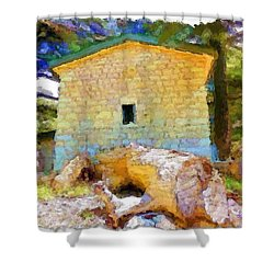 Do-00435 Building Surrounded By Cedars Shower Curtain
