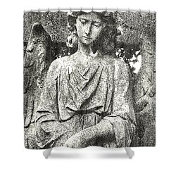 Shower Curtain featuring the mixed media Do Angels Look Sad  by Fine Art By Andrew David