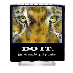 Shower Curtain featuring the digital art Do It Motivational by Darren Cannell