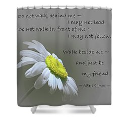 Shower Curtain featuring the mixed media Walk Beside Me by Movie Poster Prints