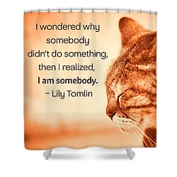 Do Something - Orange Cat Shower Curtain