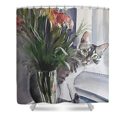 Do You See Me? Pet Portrait In Watercolor .modern Cat Art With Flowers  Shower Curtain