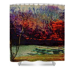 Shower Curtain featuring the photograph Dock At Central Park by Sandy Moulder